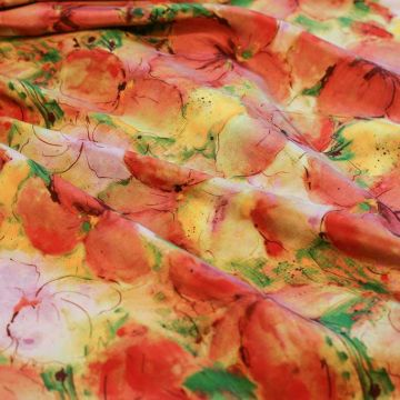 ф5155 Renato Balestra. Оранжевые яблони в цвету. Крепдешин (100% шелк).