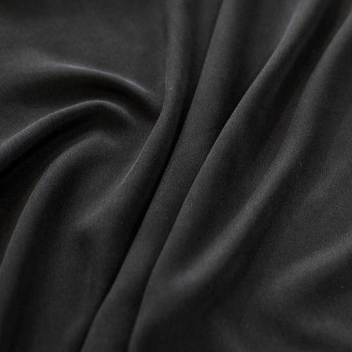 """ф5314 Черный """"вареный"""" крепдешин. (100% шелк)."""