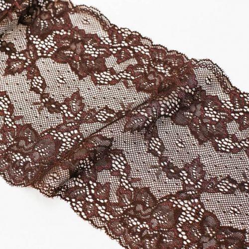 и0022 Узкое коричневое кружево с розами (100% п/э).