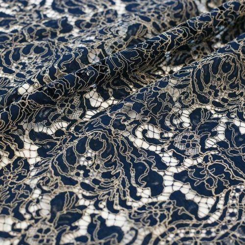 ф5416 Riechers Marescot. Сине-бежевое кружево с кудрявыми листьями (82%хлоп 18%п/амид).