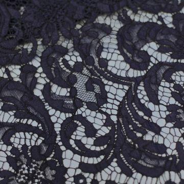 ф3025 RM. Чернильное кордовое кружево с фазаньими перьями NAVY