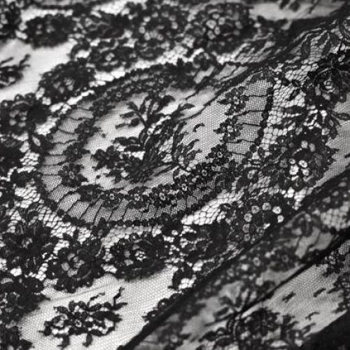 ф3986 SH Черное кружево с большими медальонами