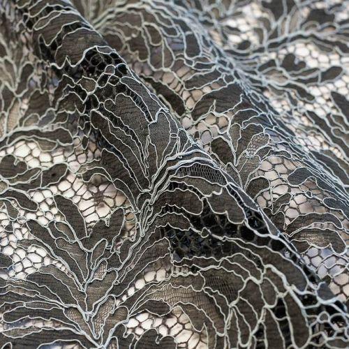 ф5417 Riechers Marescot. Антрацитово-голубое кружево с кудрявыми листьями (75%хлоп 25%п/а).