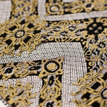 5799 Solstiss. Черно-золотое кружево с зигзагами. Франция