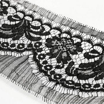 ф5407 Riechers Marescot. Черное узкое кордовое кружево с хризантемами (84%хлоп 16%п/а).