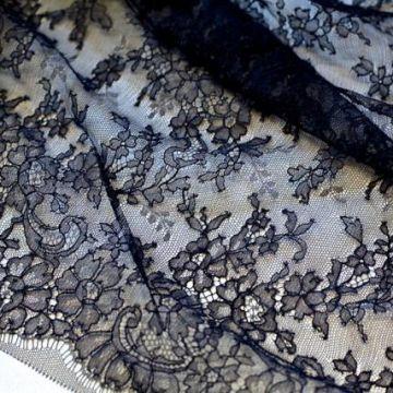 ф3989 SH Темно-синее кружево с цветами и гребешками по бордюру