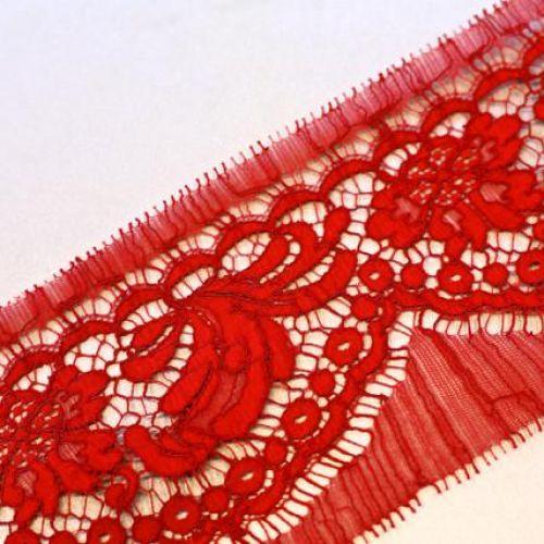 ф3976 Riechers Marescot Узк кордовое красное кружево с хризантемами