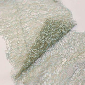 и0016 Бежево-мятное узкое кружево с незабудками (34% вискоза 66% ).