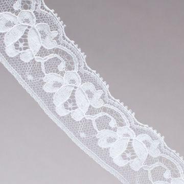 ф4967 S.H. Узкая белая кружевная тесьма с одинарными розочками (100% п/а). 7751, 5/3 Франция.