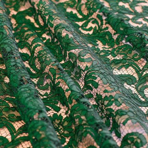 ф5423 Riechers Marescot. Изумрудное кордовое кружево с фазаньими перьями (61%хлоп 32%виск 7%п/а).