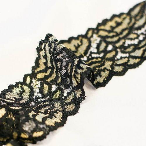 5841 Solstiss. Черно-золотая кружевн. лента с косой (17% п/амид 83% люрекс).