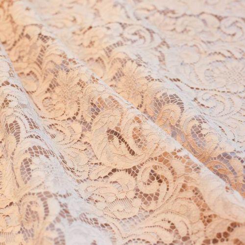 ф5425 Riechers Marescot. Кружево с цветами в завитых листьях. Цв. Роза Каира (52%хлоп 48%п/а).