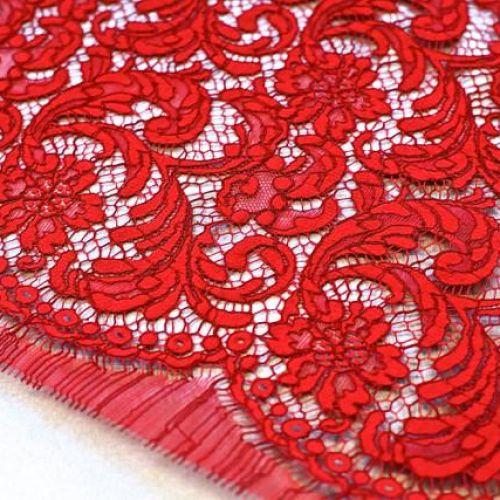 ф2344 Красное кордовое кружево с фазаньими перьями Rouge 767