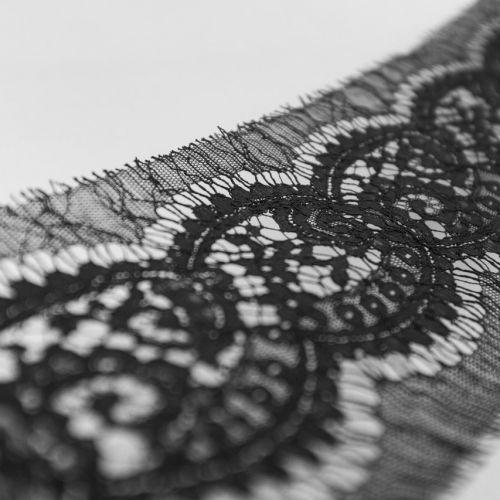 ф3034 RM. Черное узкое кордовое кружево Морские гребешки. Франция