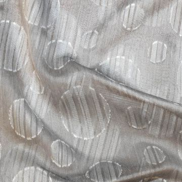 ф5121 Серебряная органза в полосатый горох (60% шелк 40% ;полиэстер).