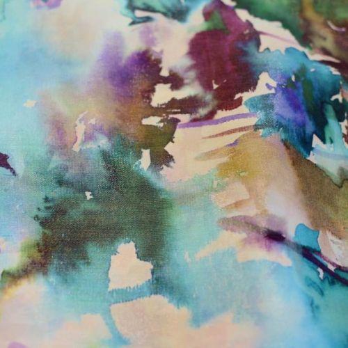 ф1528 Кремовая органза с бирюзовыми акварельными цветами в солнечном блеске (90%шел10%люр ).