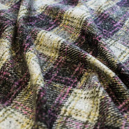 ф5444 Серо-лиловая пальтовая клетка (60%шерсть 25%мохер 15%акрил).