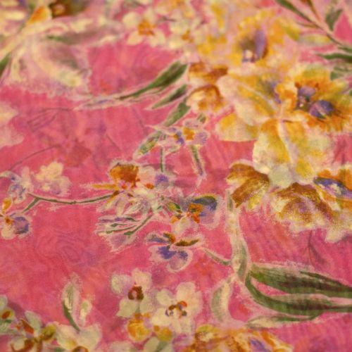 ф1108 Ярко-розовый шфон с желтыми и лиловыми ирисами