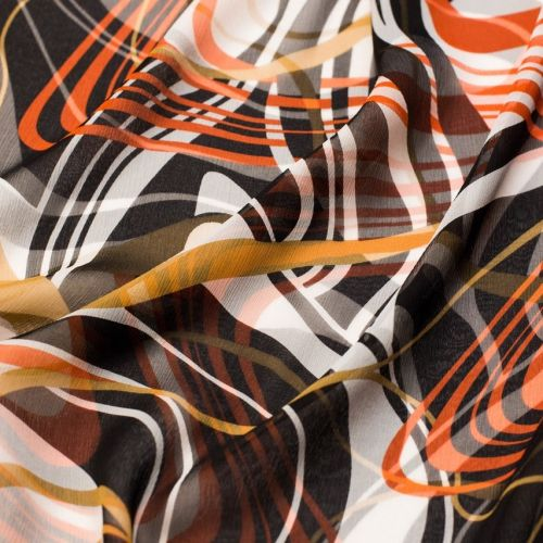 9987 Красные и горчичные развевающиеся ленты на жатом шифоне (100% шелк), Италия