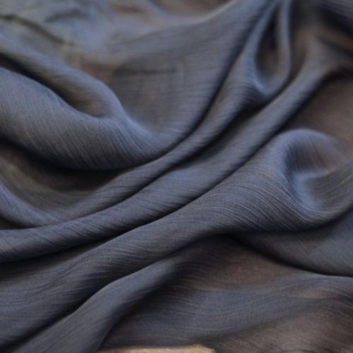 ф4219 Темно-синий жатый шифон