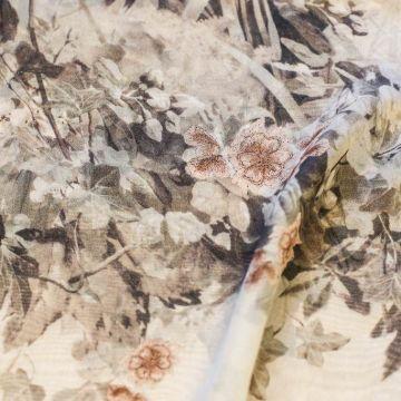 ф5125 Ferragamo. Японские птицы в императорском саду. Шифон. (100% шелк).