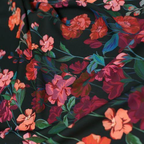 ф5668 M.G.Severi. Красные мальвы в ночном саду. Купон. (100% вискоза)