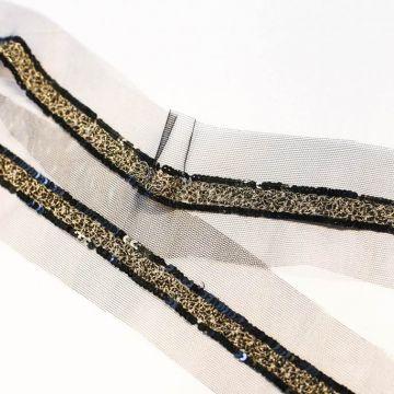8367 Золотая бисерная тесьма, обрамленная черными блестками (100% п/амид).