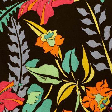 ф5100 Bessi. Нарядный тропический сад в полночь. Трикотаж. (97% хлопок 3% эластан).