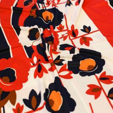 ф5091 Трикотаж Цветы в сине-красных волнах. (96% вискоза 4% лайкра).