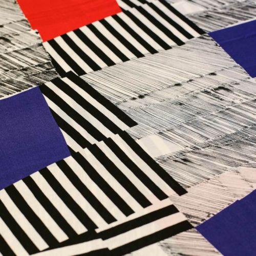 ф5093 Игра квадратов и полос. Сине-красно-черный супрематизм.Трикотаж (96% виск4% лайкра).