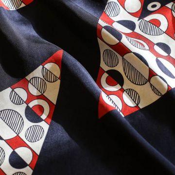 ф5164 Белые круги на красных и синих полосах. Твил с зигзагом (100% шелк).